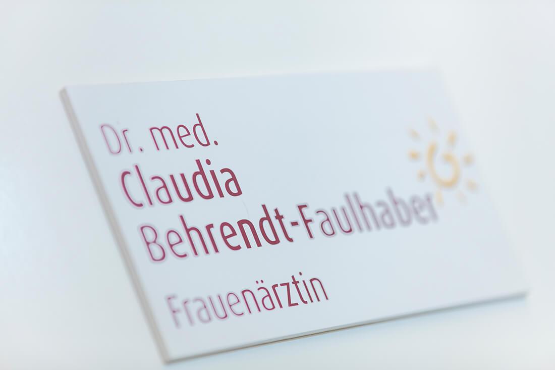 Frauenärztin Köln Innenstadt - Dr. Behrendt-Faulhaber - Visitenkarte unserer Praxis